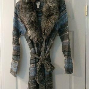 Fur collar knit Cardigan